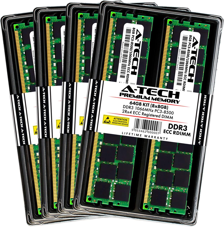 A-Tech 64GB Memory Kit for HP Workstation Z420 - (8X 8GB) DDR3 1066MHz PC3-8500 Dual Rank x4 ECC Registered DIMM RAM Upgrade