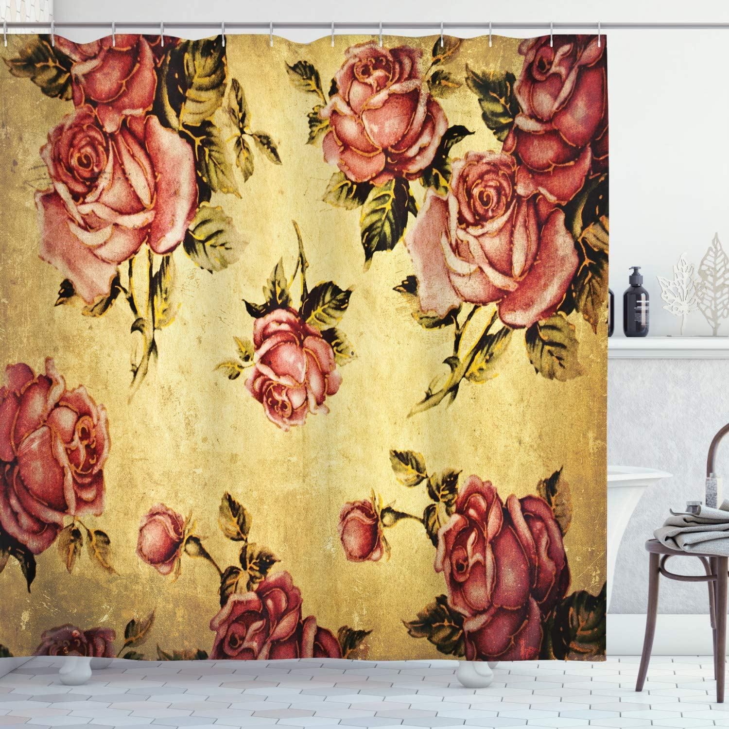 "Ambesonne Rose Shower Curtain, Old Fashioned Victorian Style Rose Pattern with Dramatic Color Boho Art Design, Cloth Fabric Bathroom Decor Set with Hooks, 75"" Long, Mustard Pink"