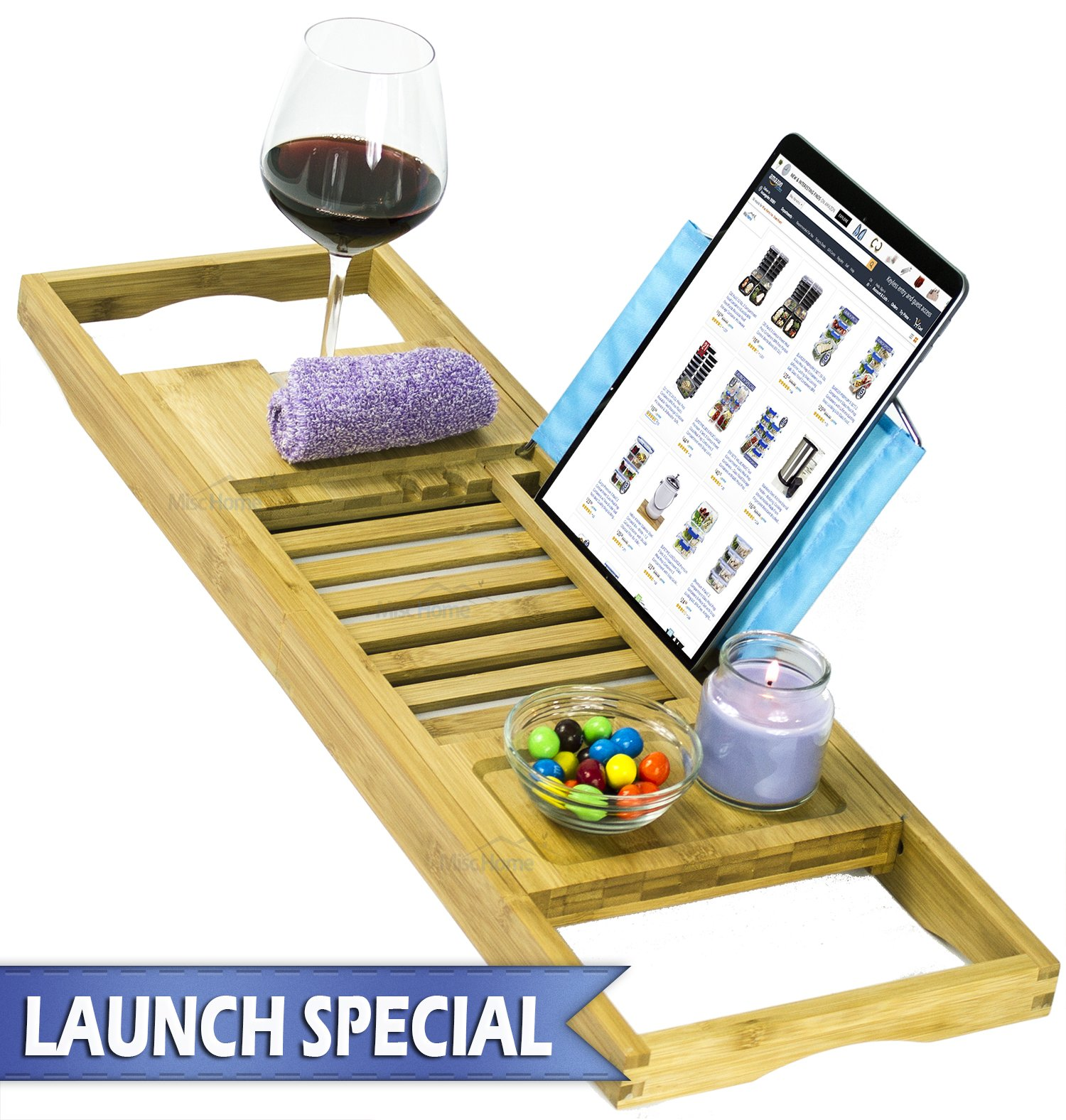 [Luxury] Bamboo Bathtub Caddy Tray with Expanding Sides, Premium Bath Tray, Tablet Holder, Wine Glass Holder, Eco Friendly Spay Tray for Bathtub Tray with Wine Holder for Bathtub by Misc Home (Image #1)