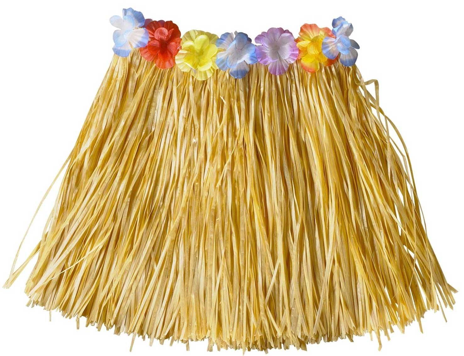 Hawaiian Fancy Dress Hula Skirt Grass Skirt Beach Party Natural//Flowers Smiffys