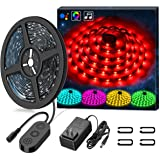 LED Strip Lights LED Lights Sync To Music, MINGER 16.4Ft/5M LED Light Strip 150 LED Lights SMD 5050 Waterproof Flexible RGB Strip Lights, LED Tape Lights, 12V Strip Lighting for Bedroom Holiday Party