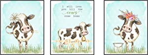 Silly Goose Gifts I Will Love You Till The Cows Come Home Art Print Watercolor Design Wall Decor Set (Floral)