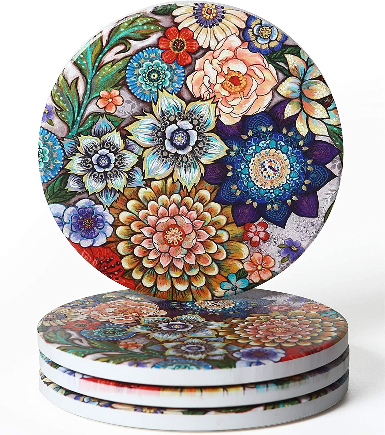 RoomTalks Boho Floral Coasters for Drinks Absorbent 4 PCS Bouquet Flowers Vintage Chic Ceramic Stone Coaster with Cork Back Modern Farmhouse Coasters for Wooden/Coffee Table (Colorful, 4 Pieces)