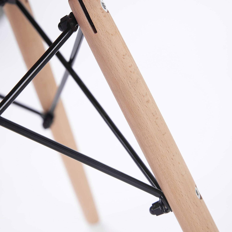Duehome (Nordik) – Pack 4 Stühle Stuhl Stuhl Stuhl Tower türkis, Replica Eames Türkis und Buche, Maße  47 cm breit x 56 cm tief x 81 cm Höhe 588767