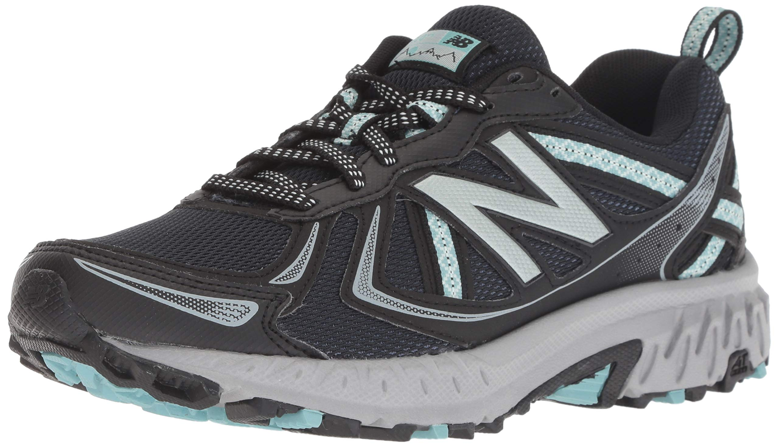 New Balance Women's 410v5 Cushioning Trail Running Shoe, Black/Thunder/Ocean air, 5 B US