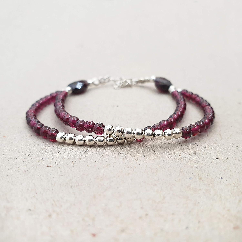 Womens Bracelet Red Bracelet Garnet and Sterling Silver Bracelet January Birthstone Garnet Bead Bracelet 4mm Garnet Bracelet