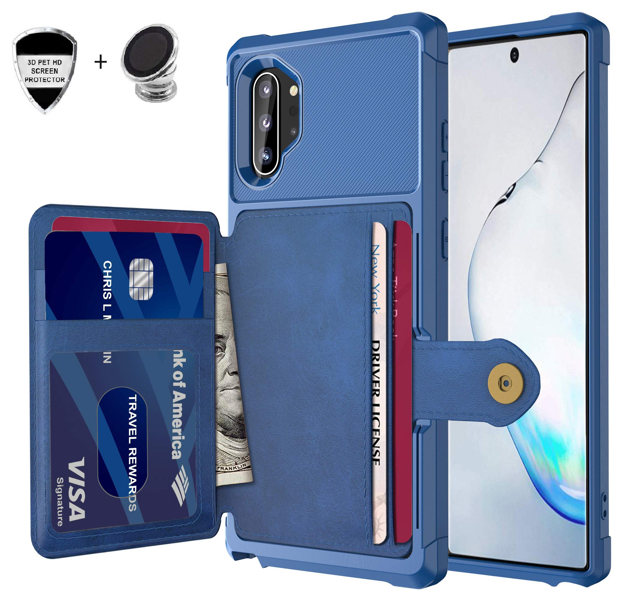Galaxy Note 10 Plus Wallet Case, Sumsung Note 10+ Flip Leather Kickstand Fit Magnetic Wireless Car Charger Mount Slim Durable Shockproof Protective Card Slots Holder Case Cover (Blue)