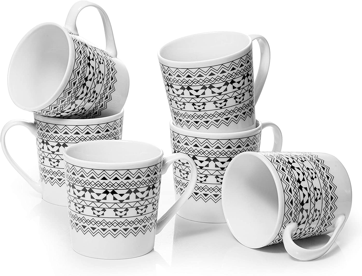 DOWAN Coffee Mugs Set, 18 Oz Large Coffee Mug Set of 6, Ceramic Mugs with Large Handle for Coffee Tea Cocoa, Dishwasher Safe, Chip-free, Modern Bohemian, Ideal Gift for Thanksgiving, Christmas, Party