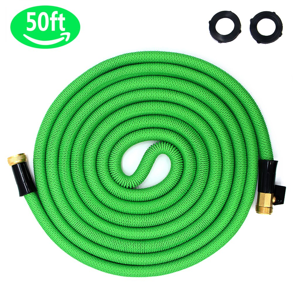 Ohala 50ft Expandable Garden Hose, Heavy Duty Water Hose with 3/4 inch Solid Brass Fittings, Expanding Water Hose with Strength Outer Fabric, Convenient Shut Off Valve for Gardening (50FT, Green)