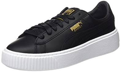 Puma Basket Platform Core Womens Trainers Black Gold - 3.5 UK