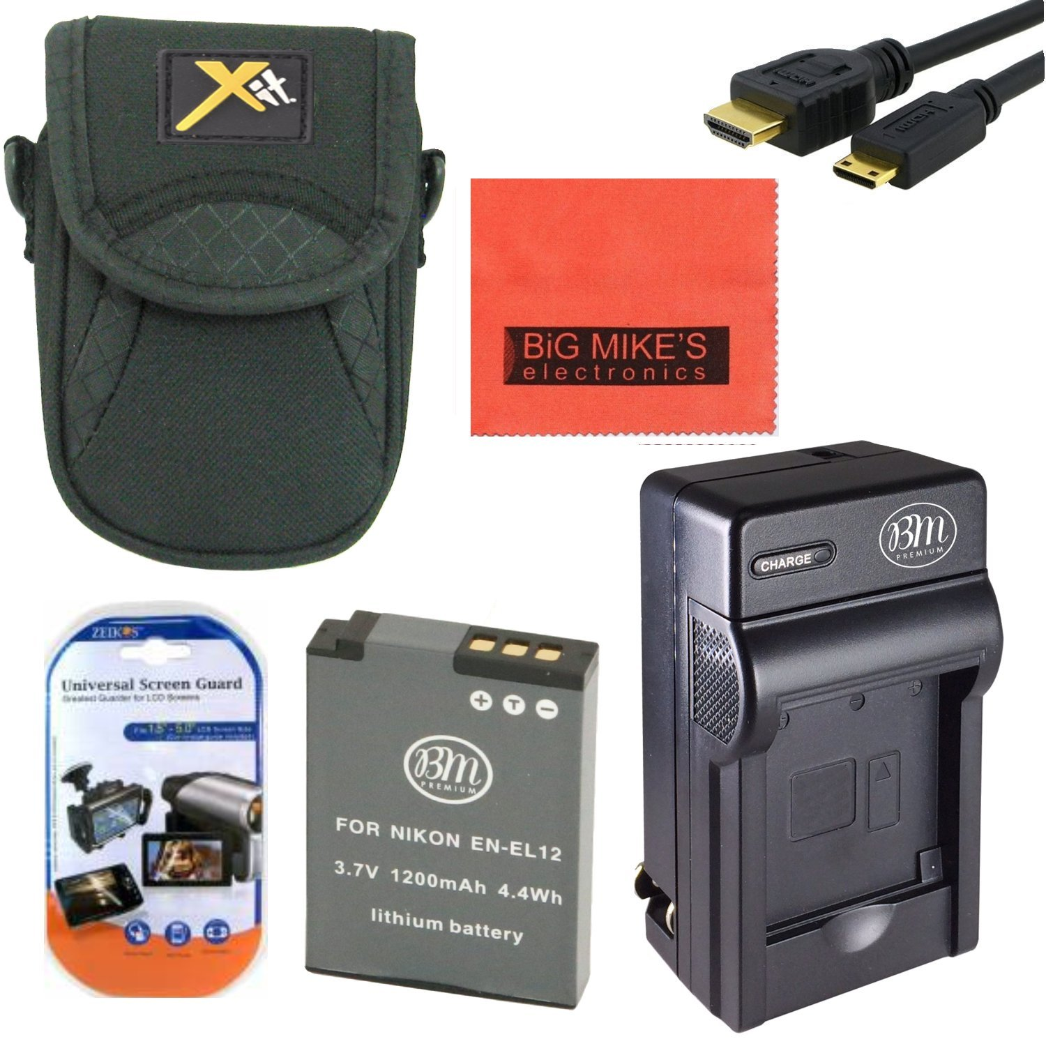 Starter Accessory Kit for Nikon Coolpix A900, AW120, P340, S9500, S9700 Digital Camera - Includes ENEL12 Battery & Charger + Deluxe Carrying Case + Micro HDMI + More!! Big Mike' s BM-ENEL12K3CA15HDMI