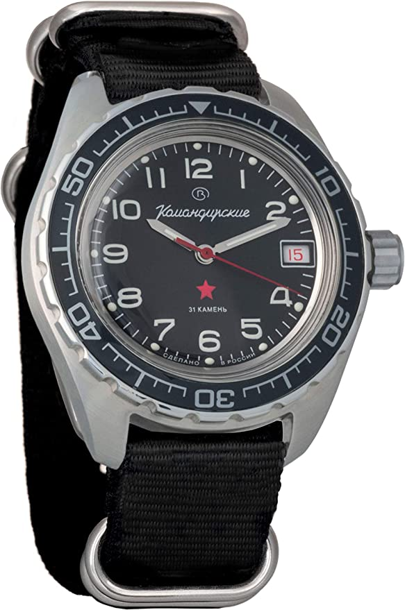 Amazon.com: Vostok Komandirskie Automatic Russian Military Wristwatch WR 200m #02-65 Case (020706: Black): Watches