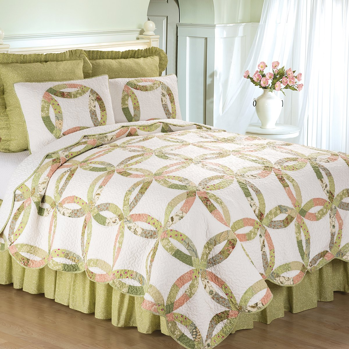 C&F Home Annie's Wedding Ring 3 Piece Quilt Set All-Season Reversible Bedspread Oversized Bedding Coverlet, Full/Queen Size, Green