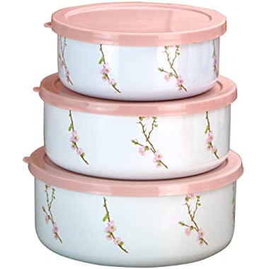Corelle Coordinates by Reston Lloyd 6-Piece Enamel on Steel Bowl/Storage Set, Cherry Blossom