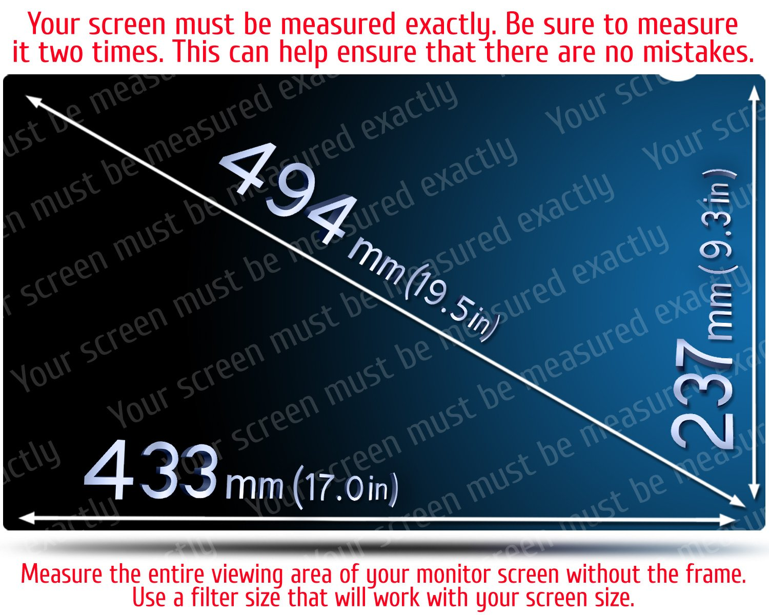 19.5 Inch Computer Privacy Screen Filter - 16:9 Aspect Ratio - for Widescreen Computer Monitor - Anti-Glare - Anti-Scratch Protector Film for Data confidentiality - Please Measure Carefully! by VINTEZ (Image #2)