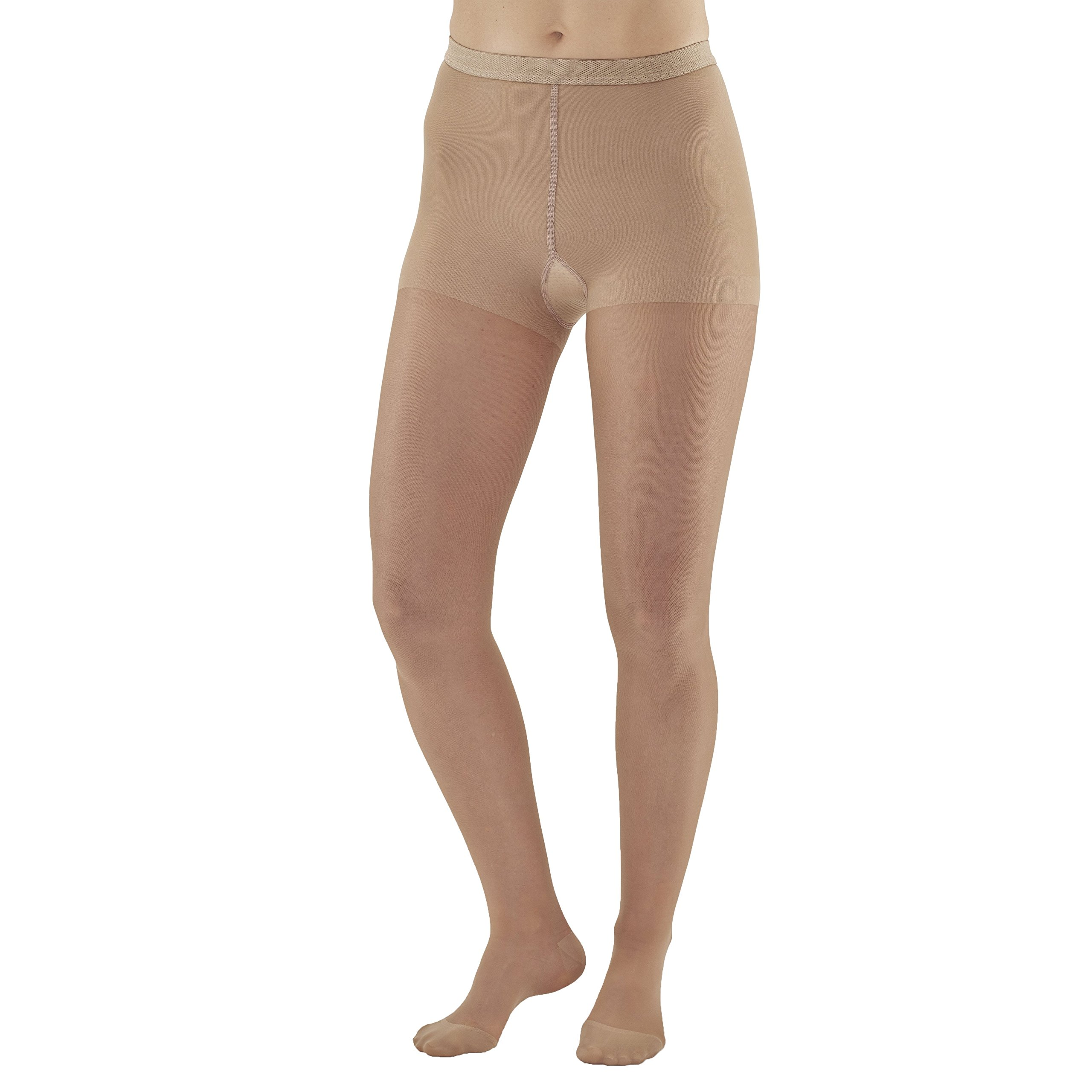 Ames Walker Women's AW Style 15 Sheer Support Closed Toe Compression Pantyhose - 15-20 mmHg Light Beige Large 15-L-LT BEIGE Nylon/Spandex