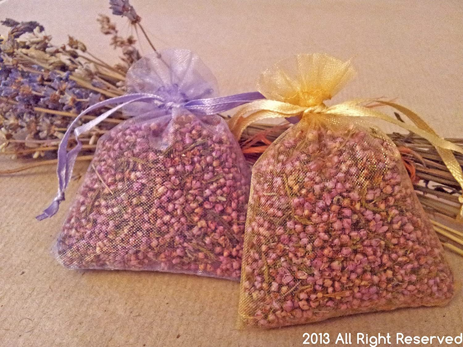Gold, 5 Dried Heather Grains in Flower Bags