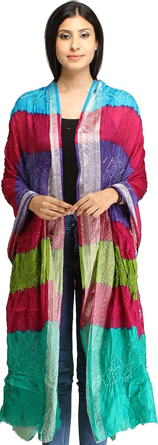 Exotic India Multicolored Bandhani Tie-Dye Crinkled Dup