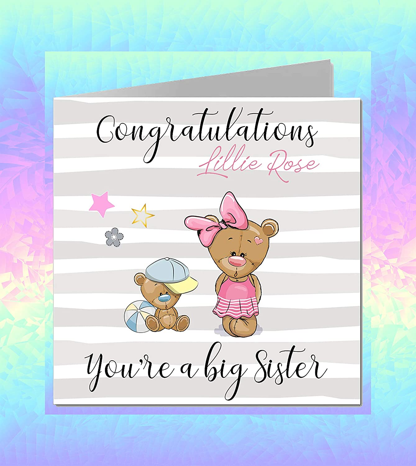 Personalised New Born Baby Card Big Brother Big Sister Boy Girl 3 for 2 offer NB56