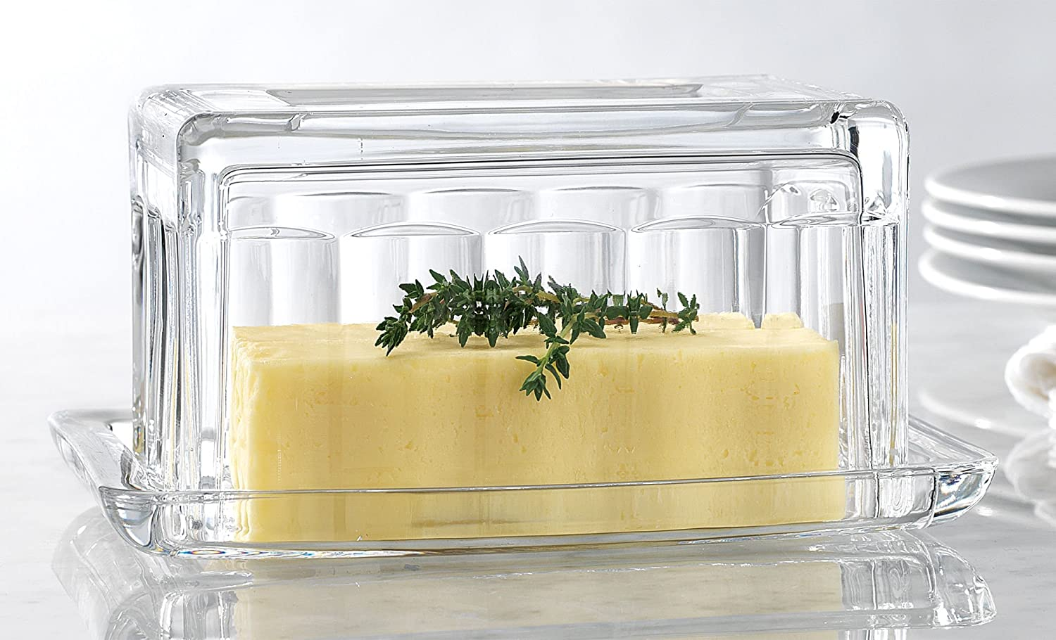 Durable clear glass butter dish -beautiful covered butter keeper serveware dish