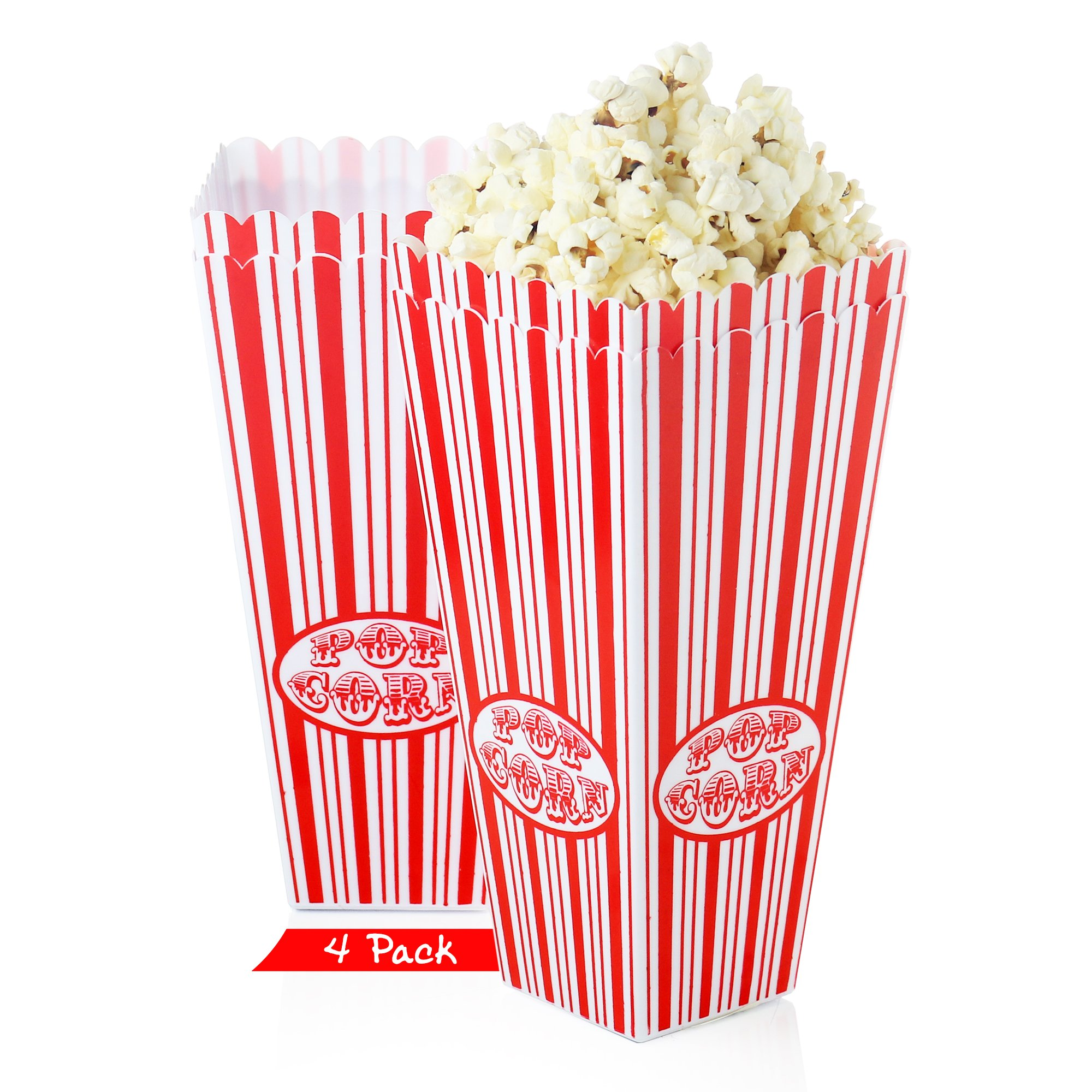 Set of 4 - Popcorn bucket Plastic Container, Reusable Bowel Red & White Stripes, Movie Theater Tub (Pack of 4)