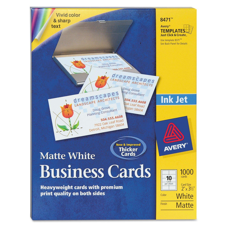 Avery 8471 Business Cards, Inkjet, Matte, 2''x3-1/2'', 1000/BX, White