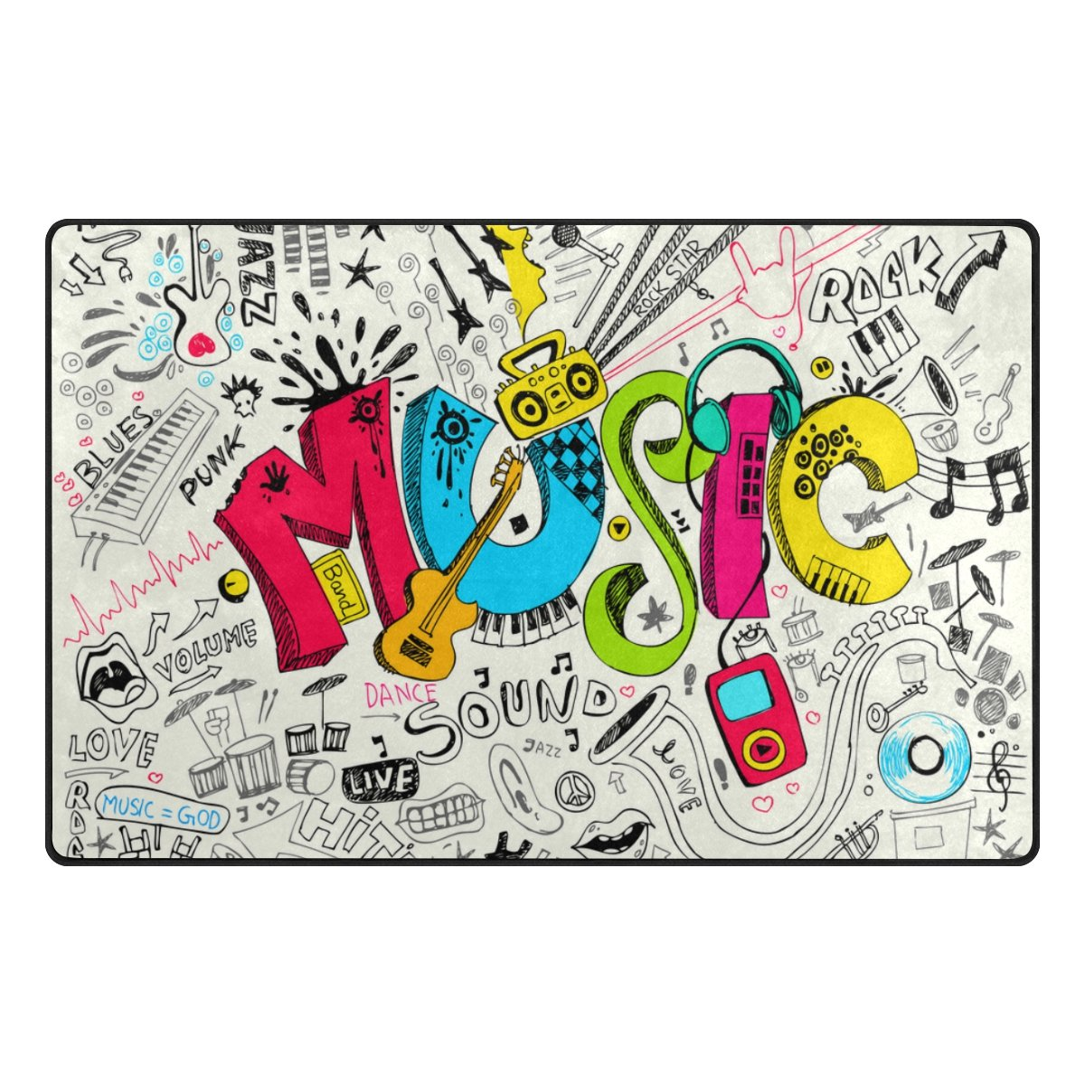 My Daily Funny Music Graffiti Doodle Area Rug 3'3'' x 5', Living Room Bedroom Kitchen Decorative Lightweight Foam Printed Rug