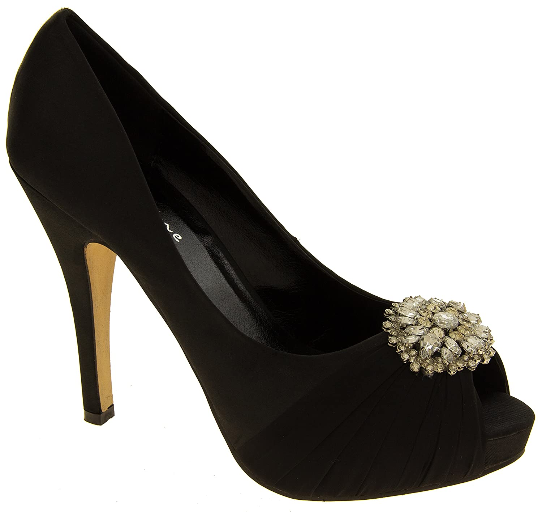 Femmes Sabatine Satin Diamante Cluster Nuptiale Chaussures De Mariage EU 39 Ivoire hhrNCn