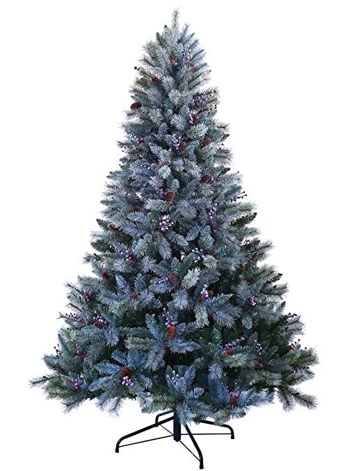 amazon com abusa christmas trees 9 ft prelit snowy everest needles pine cones and berries faux xmas tree with 1000 led lights 2300 branch tips home