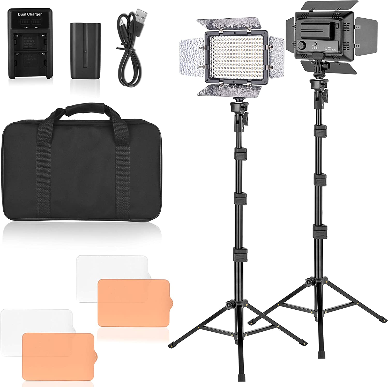 Emart LED Video Studio Light Kit, Dimmable 176 LED Panel Lighting Kit with Adjustable Tripod Stand, Rechargeable Batteries Use, for Room Photography, YouTube, Streaming Lighting, Filming - 2 Pack