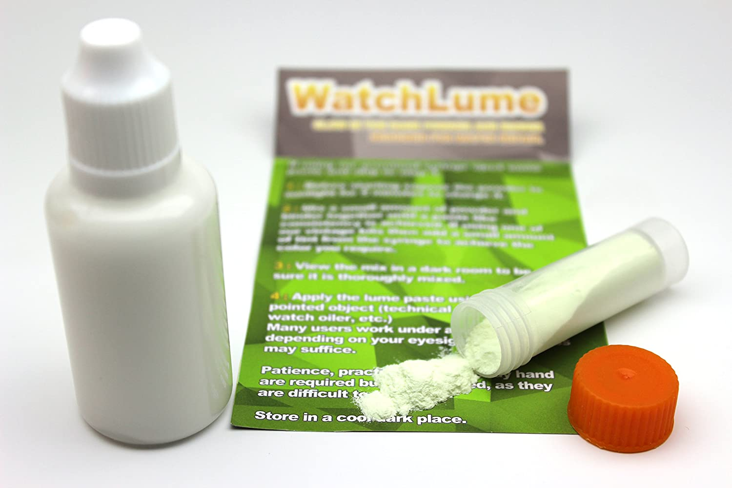 GLOW IN THE DARK WATCH LUME FOR WATCH DIAL AND HAND RELUMING. GREEN. 7 GRAMS. 30ML