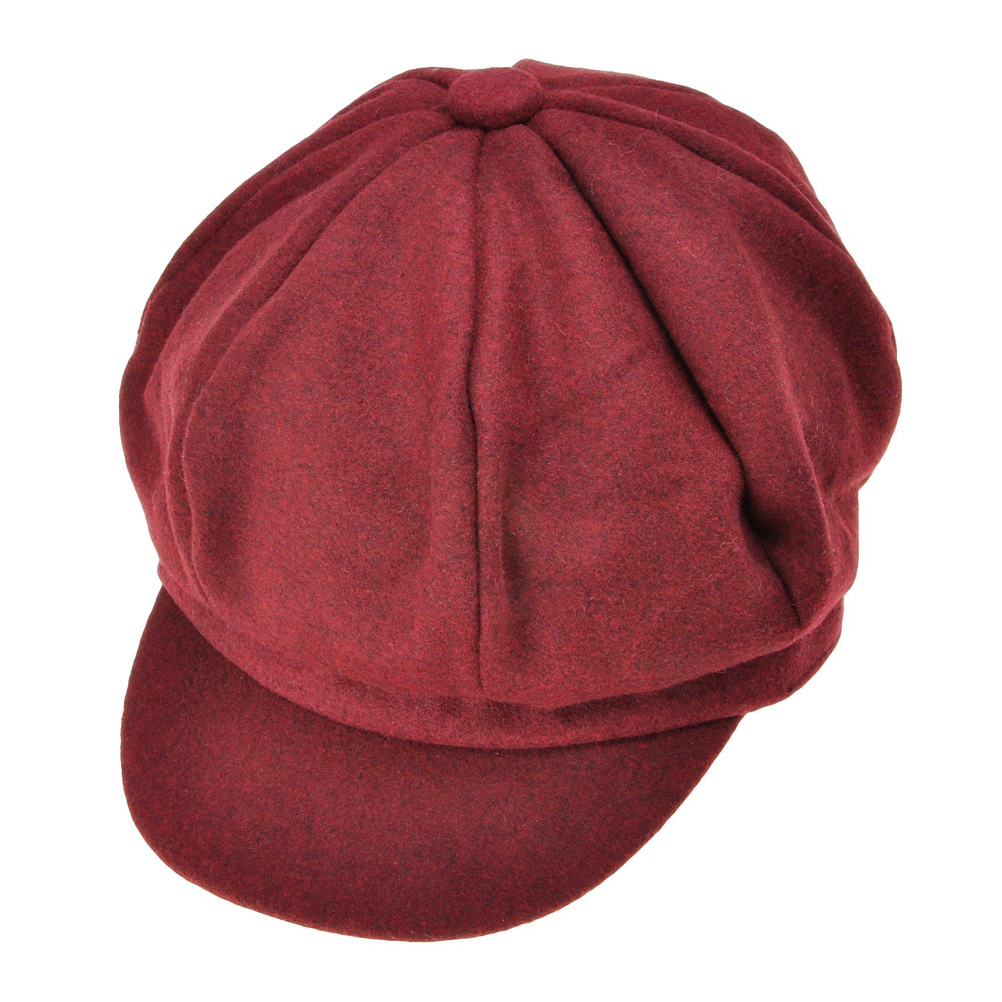 Womens Classic Newsboy Caps Visor 8 Panel Gatsby Apple Cabbie Hat, Burgundy