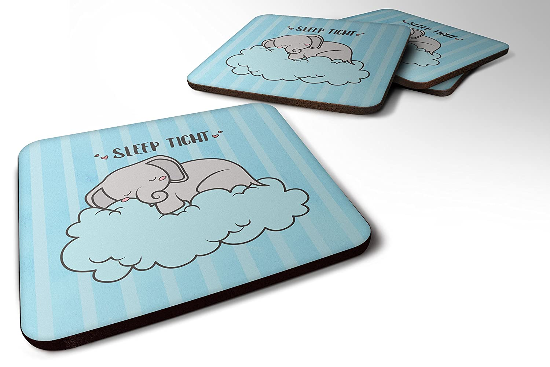 Caroline 's Treasures bb7475fcのセット4 Nursery Sleep Tight Elephant Foamコースターのセット4、3 1 / 2 x 3 1 / 2、マルチカラー   B072MFTS4H
