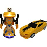 Car Transforms into Robot Car Toys for Children Bump and Go Action with Lights and Scary Sounds