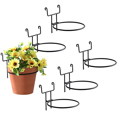 Amazon.com 7-Inch Black Metal Wire Hanging Planter Holders for Wire Trellis Wall Set of 6 Garden \u0026 Outdoor  sc 1 st  Amazon.com & Amazon.com: 7-Inch Black Metal Wire Hanging Planter Holders for Wire ...