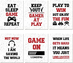 Funny Game Art Print Inspirational Words Quote Poster, Set of 6 Canvas Gaming Wall Art Pictures For Kids Boy Bedroom Playroom Home Decor - Christmas Birthday Gifts for Gamer, No Frame 8'' x 10''