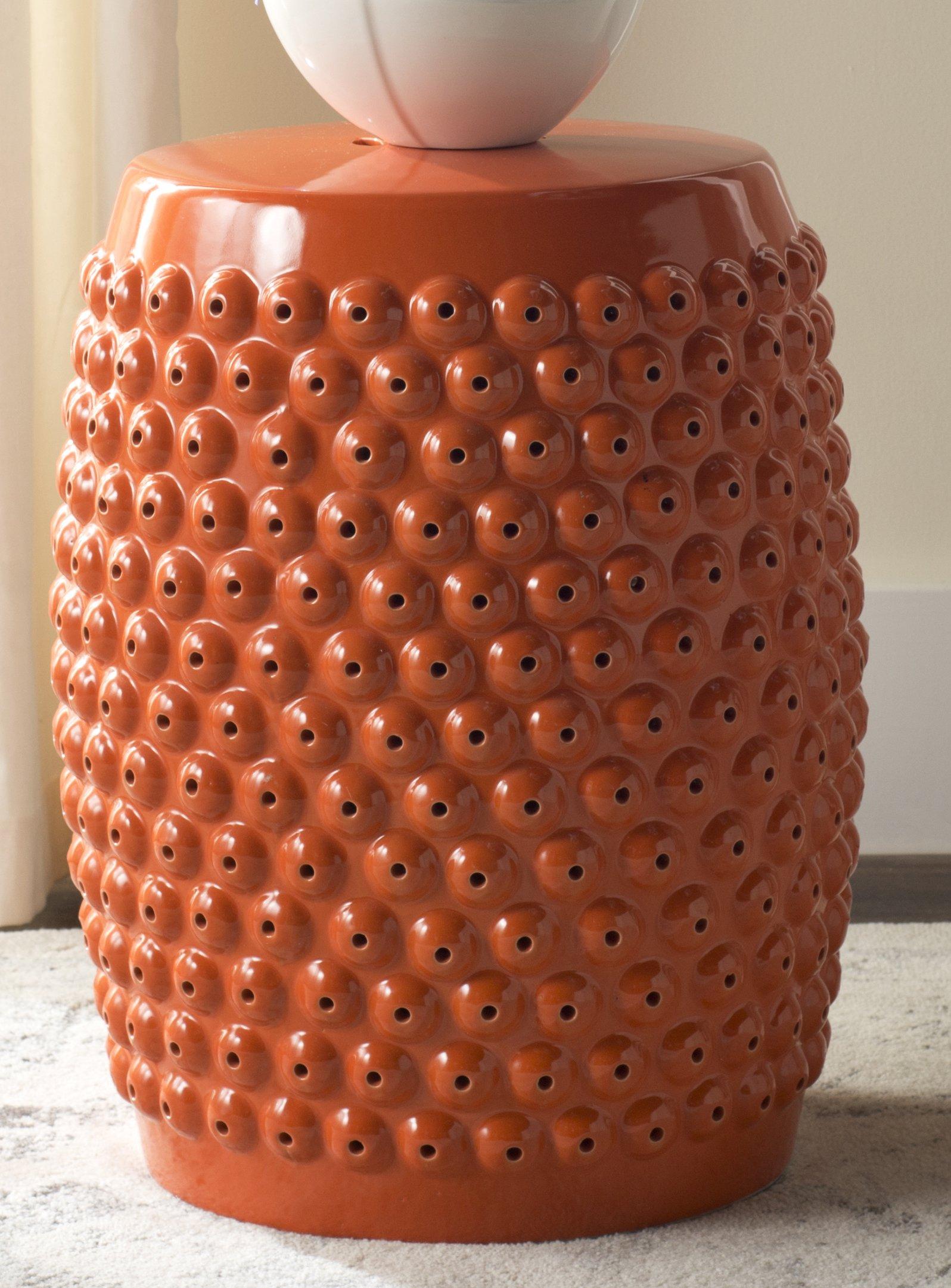Safavieh Castle Gardens Collection Stella Nail Head Orange Glazed Ceramic Garden Stool