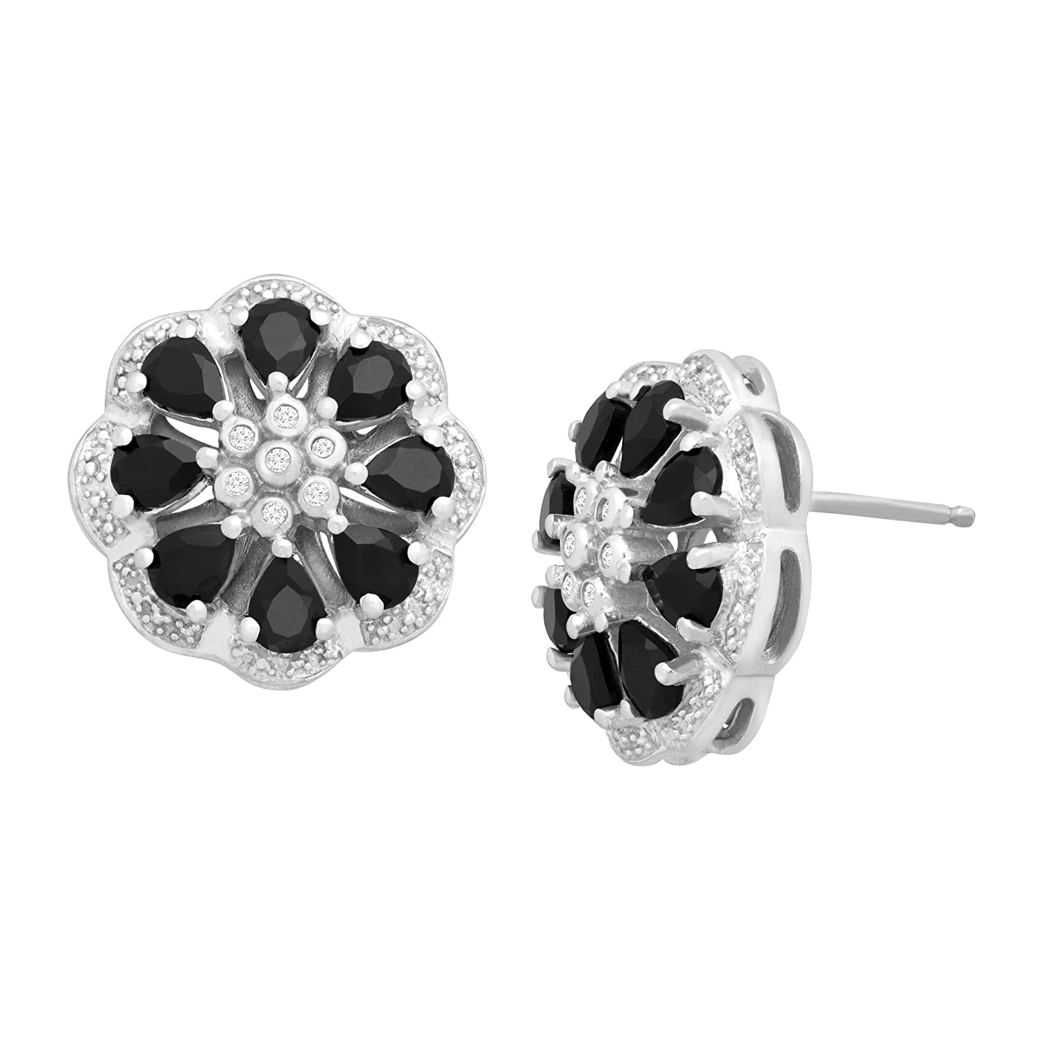 1 5/8 ct Natural Onyx Flower Stud Earrings with Diamonds in Sterling Silver