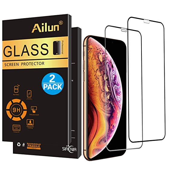 finest selection eb2e2 44ad6 Ailun Screen Protector Compatible iPhone X/Xs,iPhone 10,[2 Pack],Notch Full  Coverage,2.5D Edge Tempered Glass for iPhone X/10/Xs ...