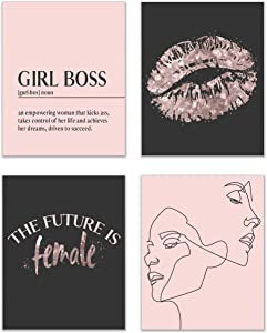 Inspirational Girl Boss Fashionista Prints - Set of 4 (8x10 Inches) Glossy Black and Rosegold Blush Pink Office Wall Art Decor - Definition - The Future is Female - Line Art - Hustle Kiss Lipstick