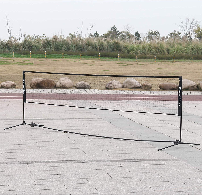 Display4top Rete da Tennis Badminton Portabile Pieghevole Altezza Regolabile 107-155 cm Installazione Facile Rete da Sport in Nylon con Pali