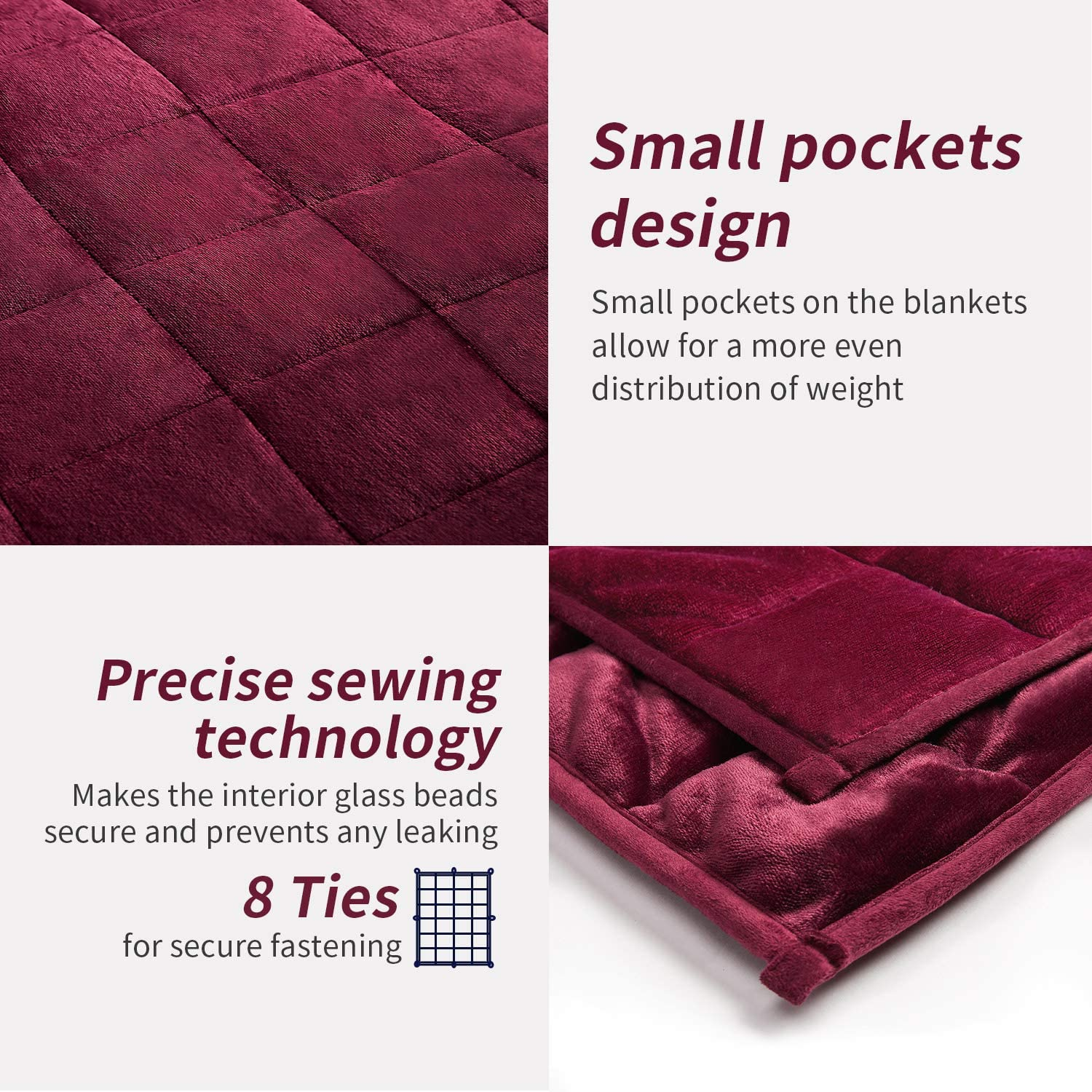 NEWSHONE Removable Cover for Weighted Blanket Fuzzy Soft Flannel Fleece Material Burgundy;Duvet Cover Only Single Size 41x60