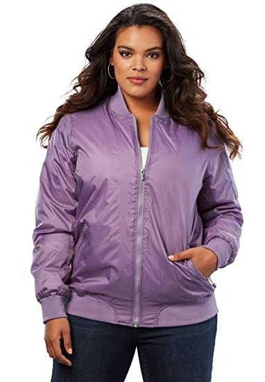 64337249f Roamans Women's Plus Size Zip-Front Bomber Jacket