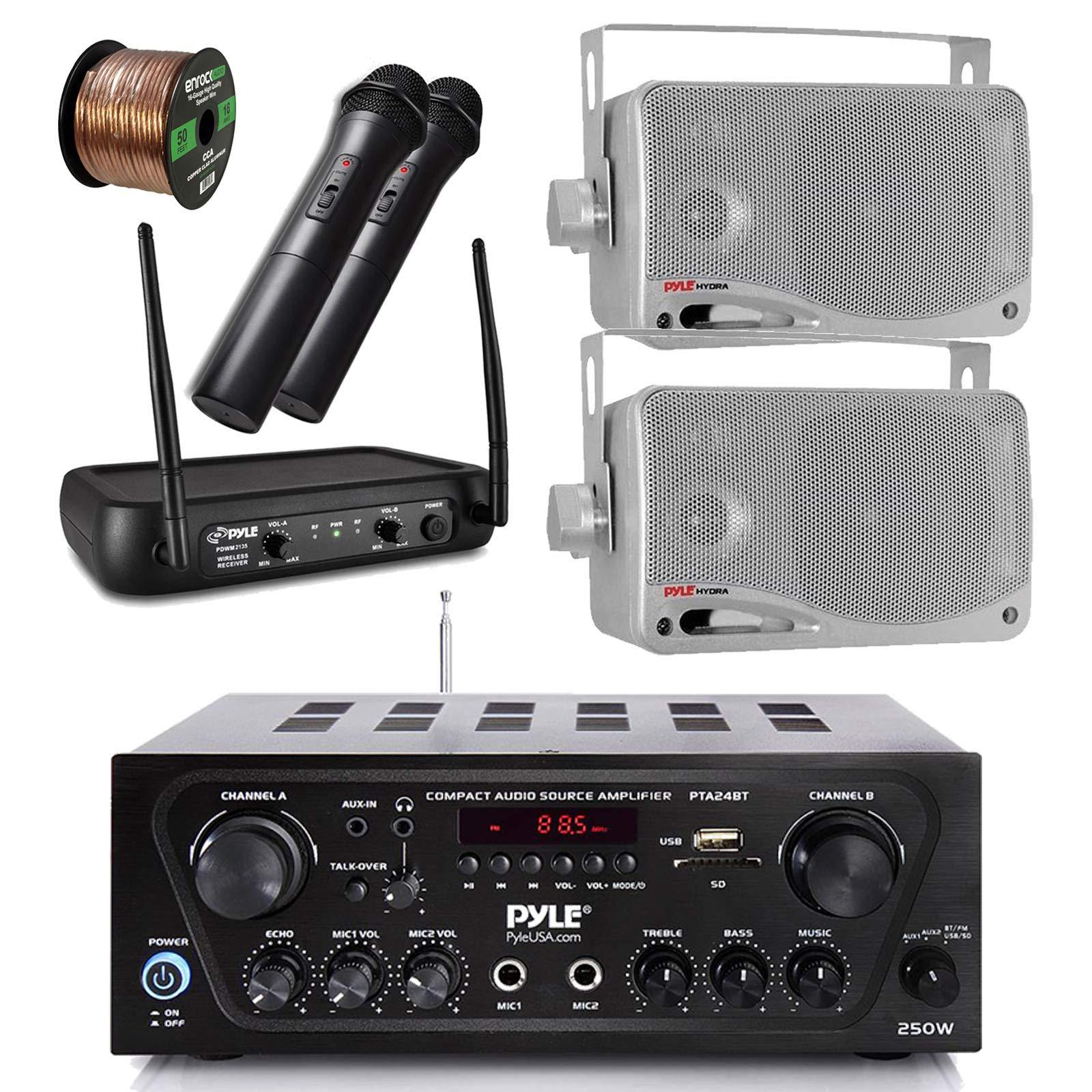 Pyle Wireless Bluetooth Stereo Receiver Amplifier, Dual Channel VHF Wireless Microphone System, 2x Pyle 3.5'' 200 Watt 3-Way Weather Proof Box Speakers - Silver, 50Ft Speaker Wire - PA , Karaoke , DJ