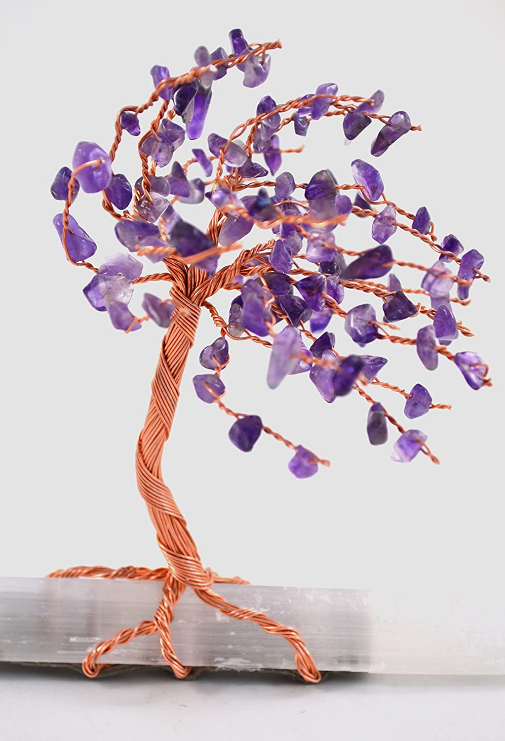 Tree of Life Windswept with Amethyst Leaves on Selenite