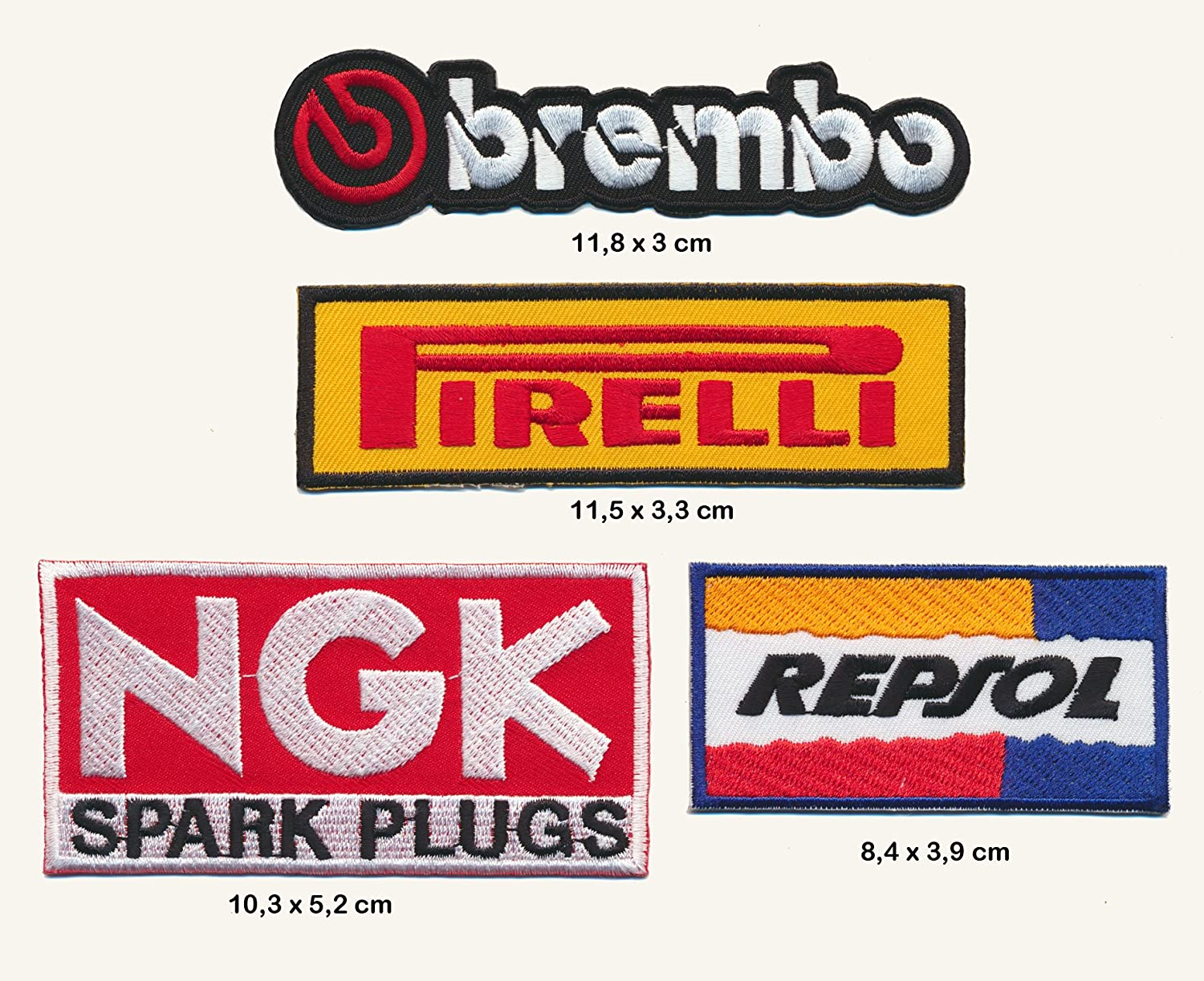 Brembo NGK tapissier Repsol É cusson thermocollant patch Lot de 4  Turbo Livraison Royal Garment