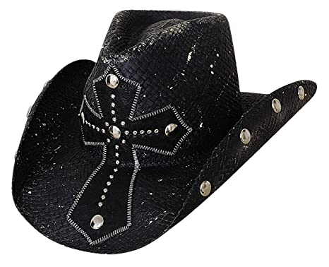 52e0dff35600a Image Unavailable. Image not available for. Colour  Bullhide Montecarlo No  Mercy Shantung Panama Western Hat w Cross ...