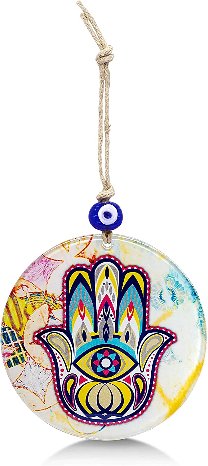 Alef Bet by Paula Abstract Glass Hamsa Hand Wall Decor Hanging