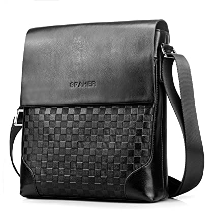 SPAHER Elegant Men Leather Shoulder Bag Ipad Messenger Business Bag  Crossbody Tote Satchel Sling Travel Bag fa21fe286d40b