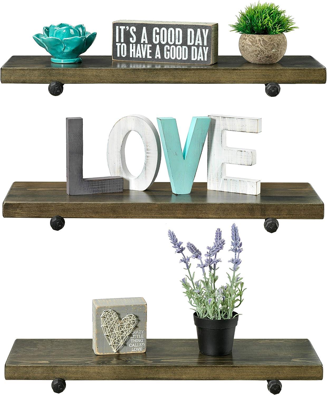 3 Tier Wood Shelves with Black Pipe Brackets (Walnut, 3 Tier)